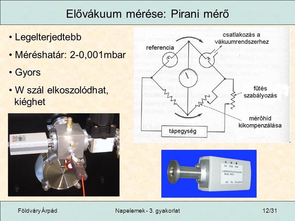 Elővákuum mérése: Pirani mérő