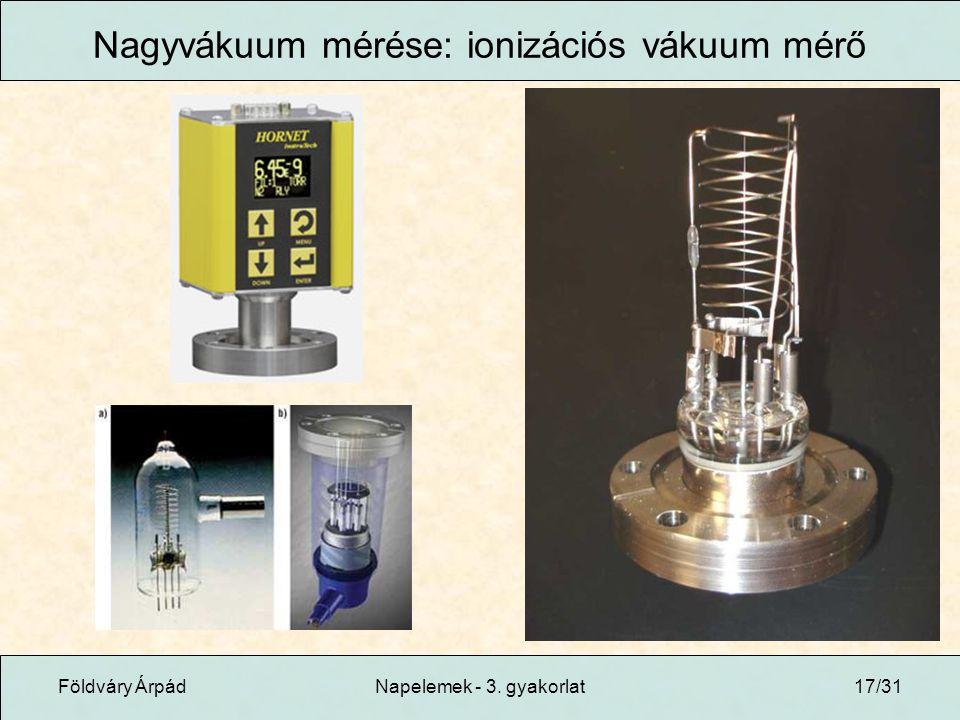 Nagyvákuum mérése: ionizációs vákuum mérő