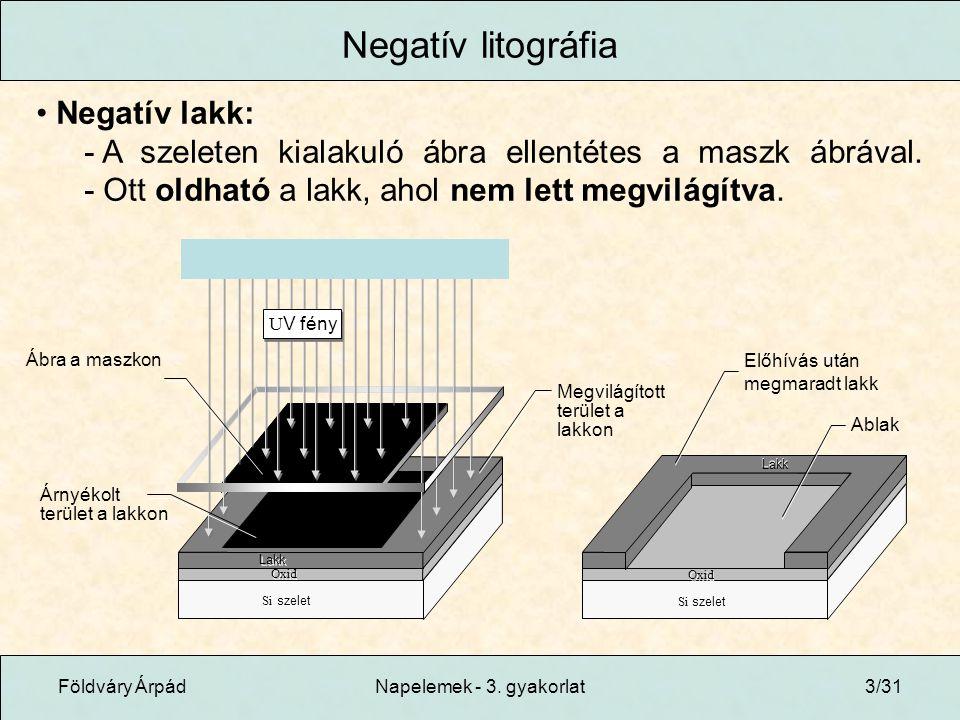 Negatív litográfia Negatív lakk: