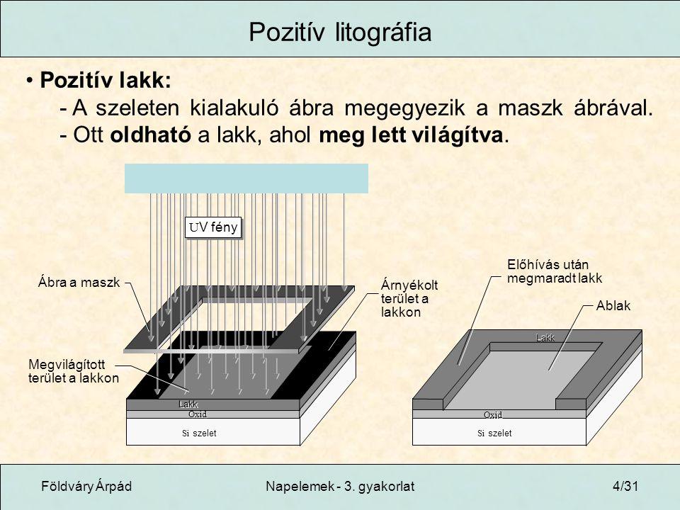 Pozitív litográfia Pozitív lakk: