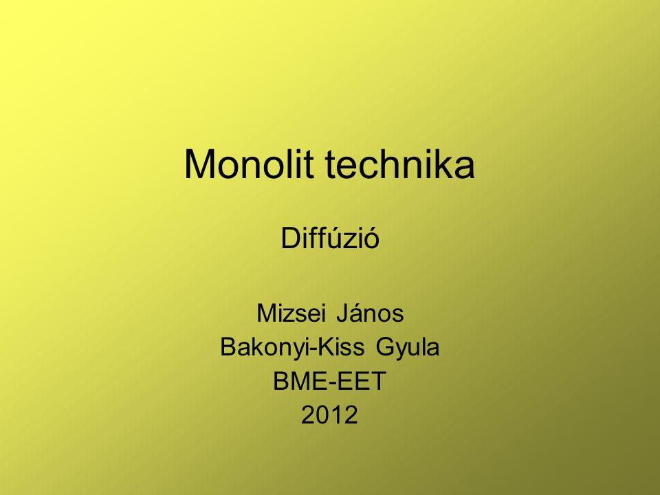 Diffúzió Mizsei János Bakonyi-Kiss Gyula BME-EET 2012