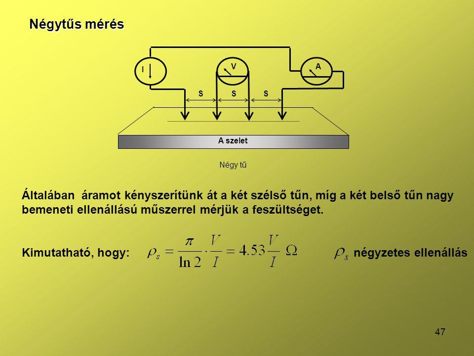 Négytűs mérés A szelet. S. I. V. A. Négy tű.