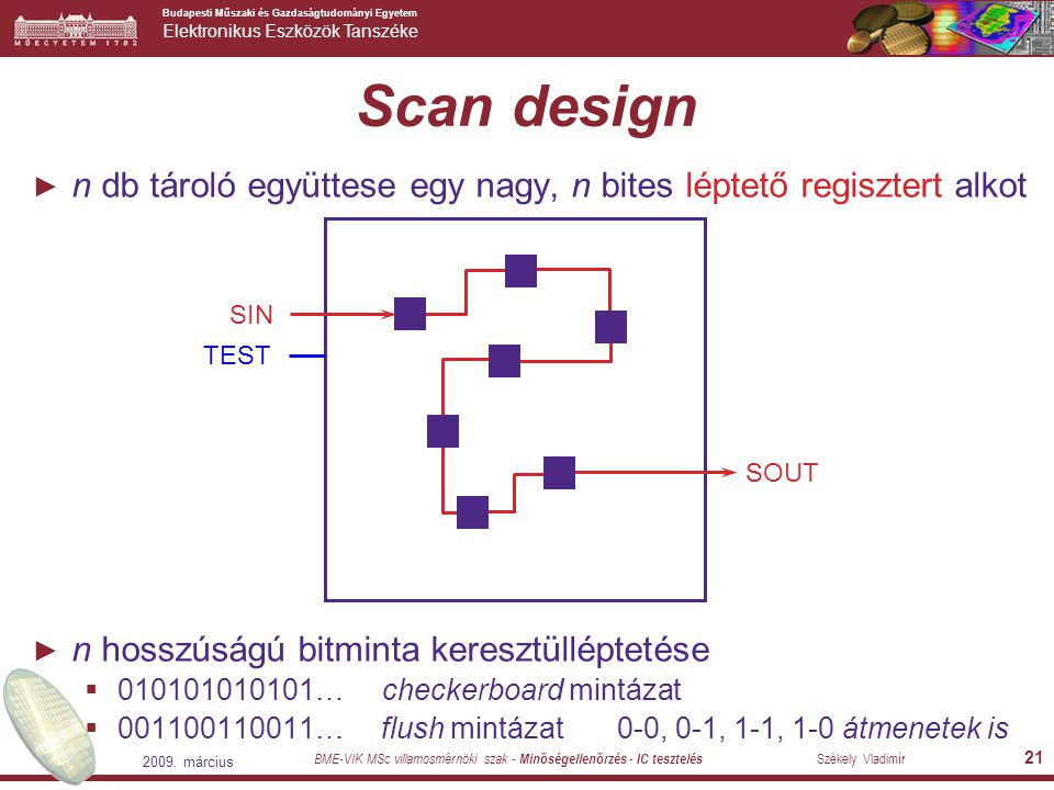Scan design n db tároló együttese egy nagy, n bites léptető regisztert alkot. n hosszúságú bitminta keresztülléptetése.