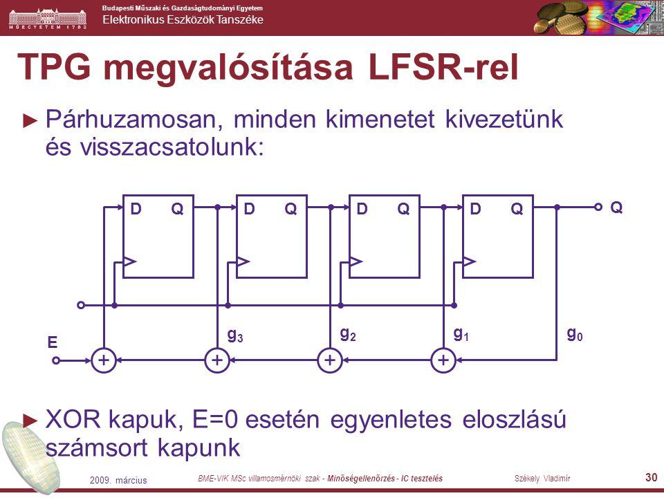 TPG megvalósítása LFSR-rel
