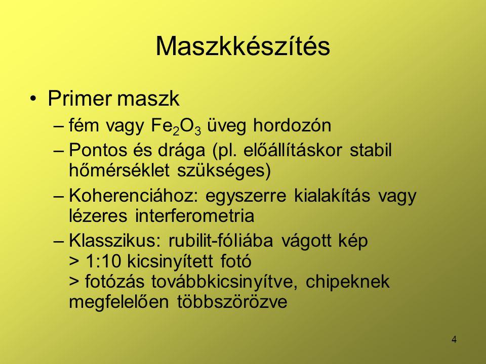 Maszkkészítés Primer maszk fém vagy Fe2O3 üveg hordozón