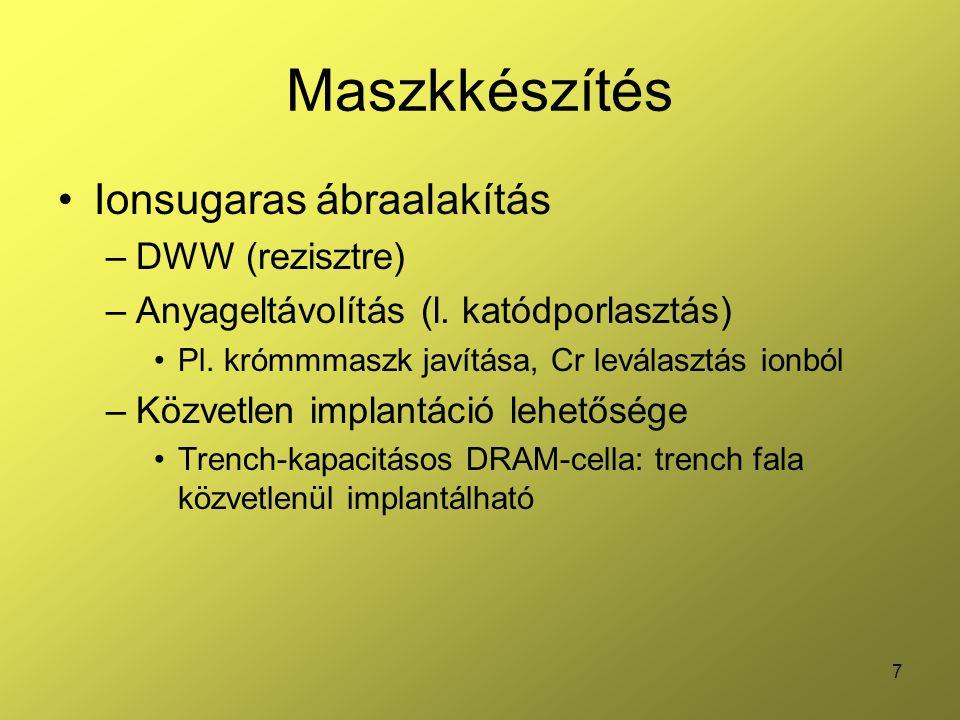 Maszkkészítés Ionsugaras ábraalakítás DWW (rezisztre)