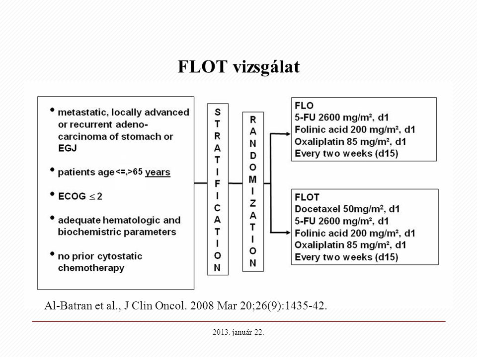 FLOT vizsgálat Al-Batran et al., J Clin Oncol. 2008 Mar 20;26(9):1435-42. 2013. január 22.