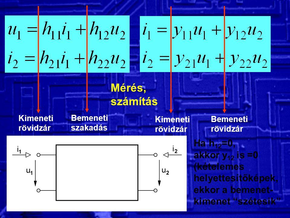 Mérés, számítás Ha h12=0, akkor y12 is =0