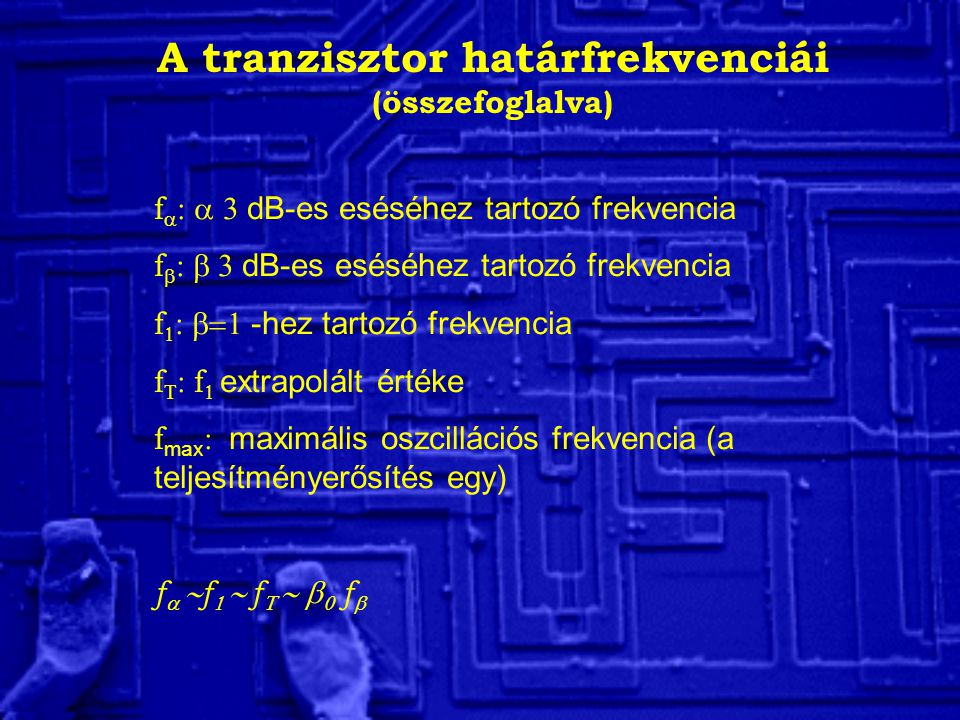 A tranzisztor határfrekvenciái