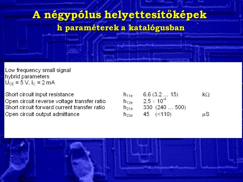 A négypólus helyettesítőképek h paraméterek a katalógusban