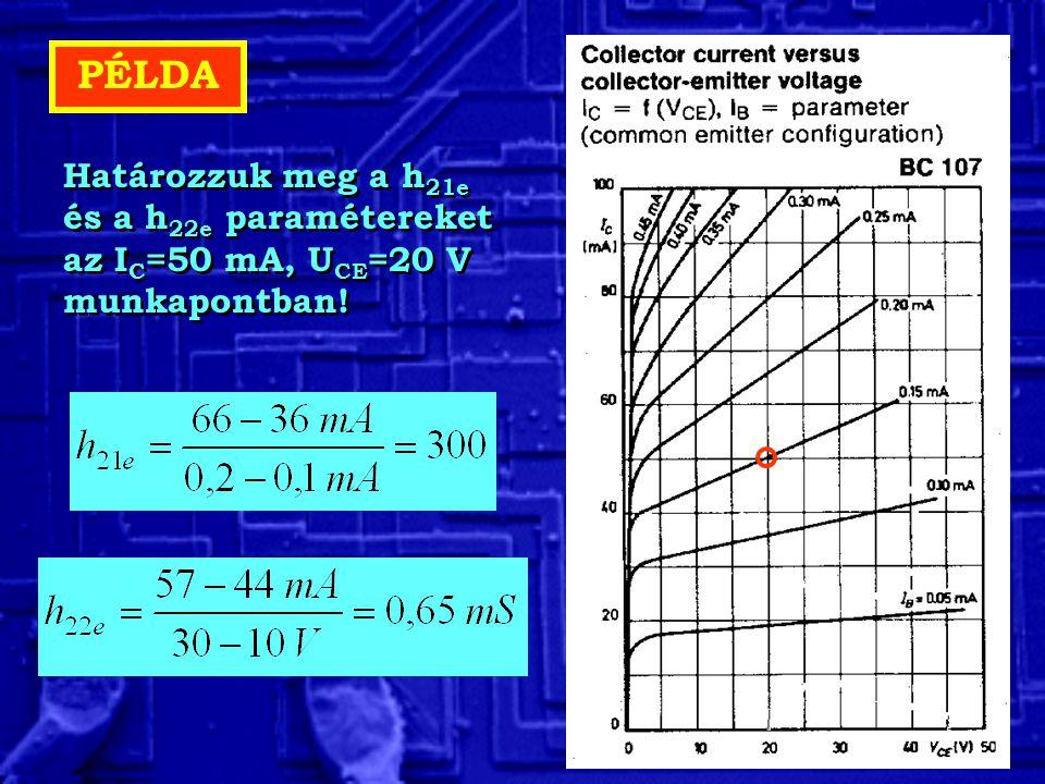 PÉLDA Határozzuk meg a h21e és a h22e paramétereket az IC=50 mA, UCE=20 V munkapontban!