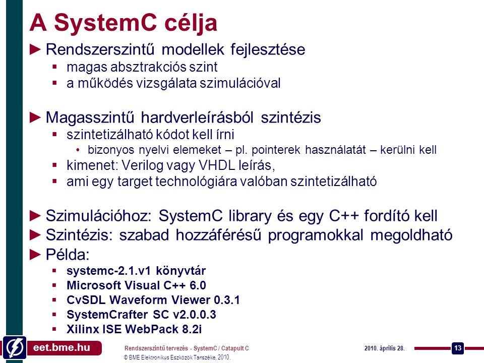 A SystemC célja Rendszerszintű modellek fejlesztése