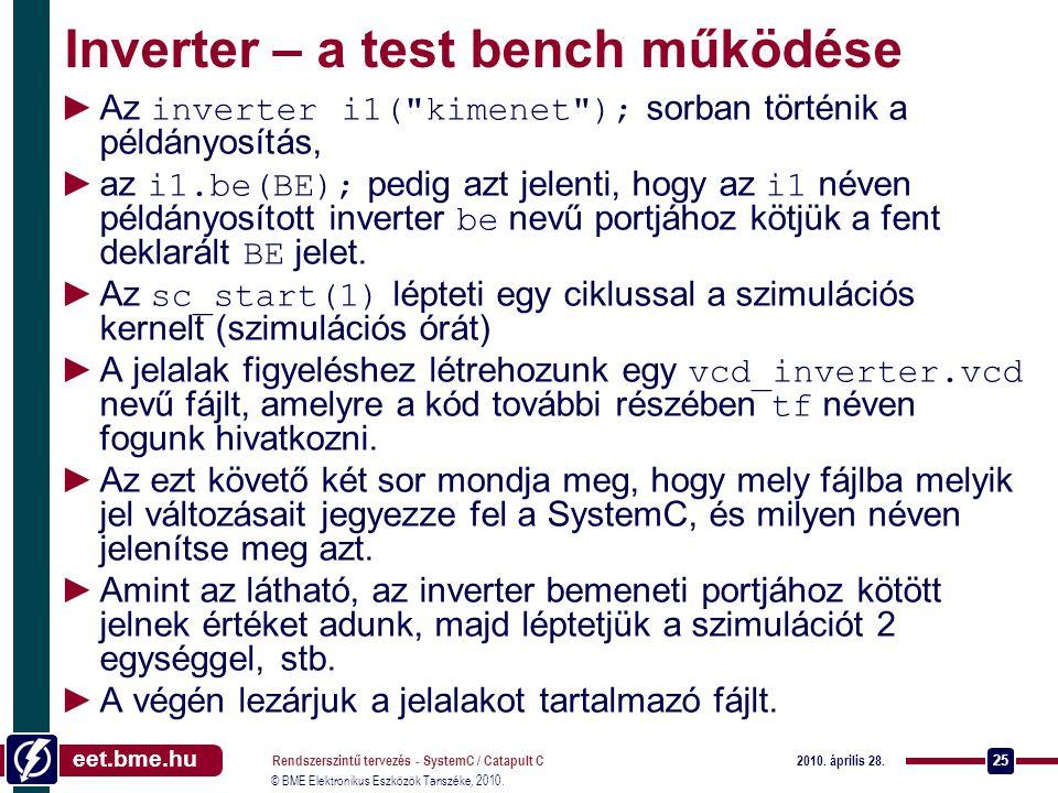 Inverter – a test bench működése