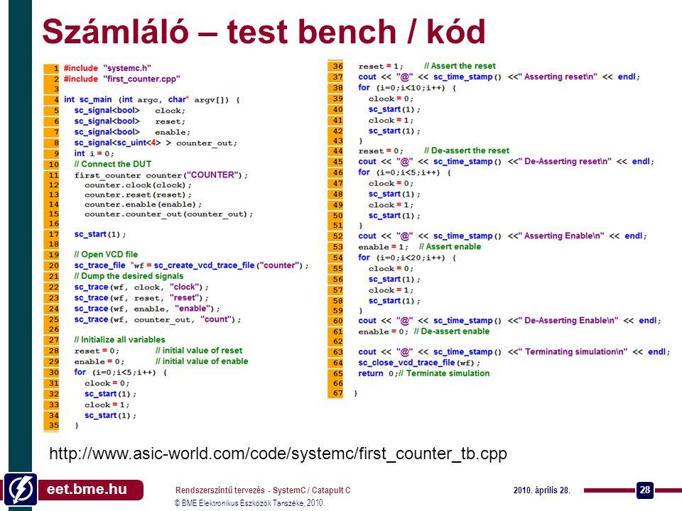 Számláló – test bench / kód