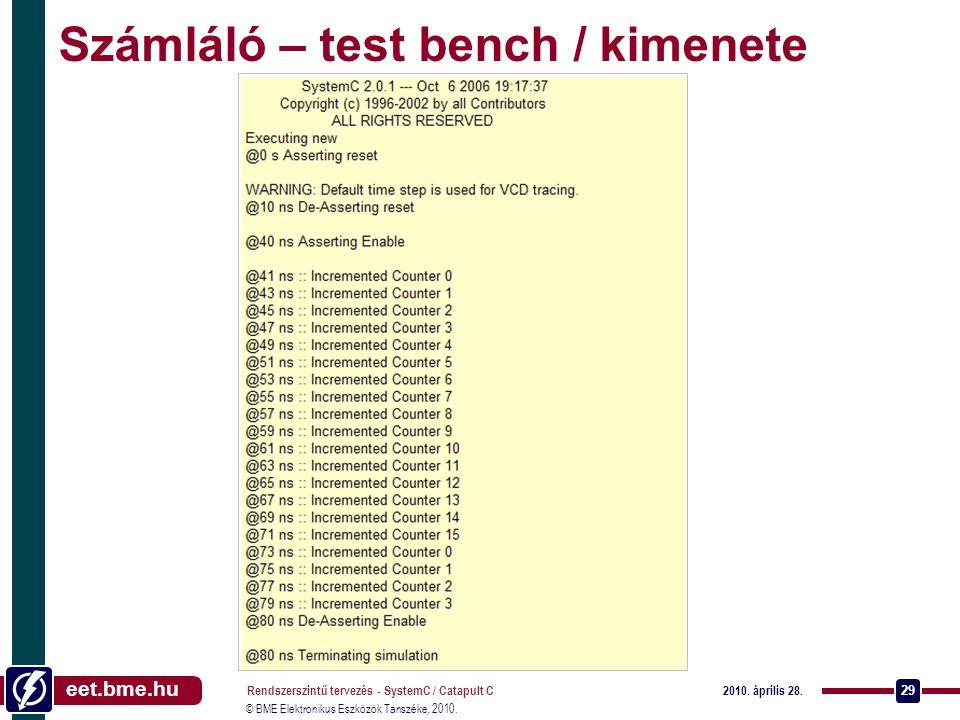Számláló – test bench / kimenete