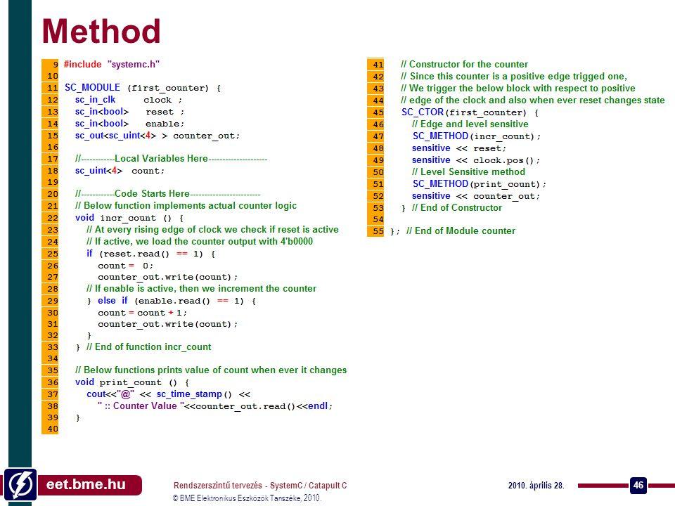 Method Rendszerszintű tervezés - SystemC / Catapult C