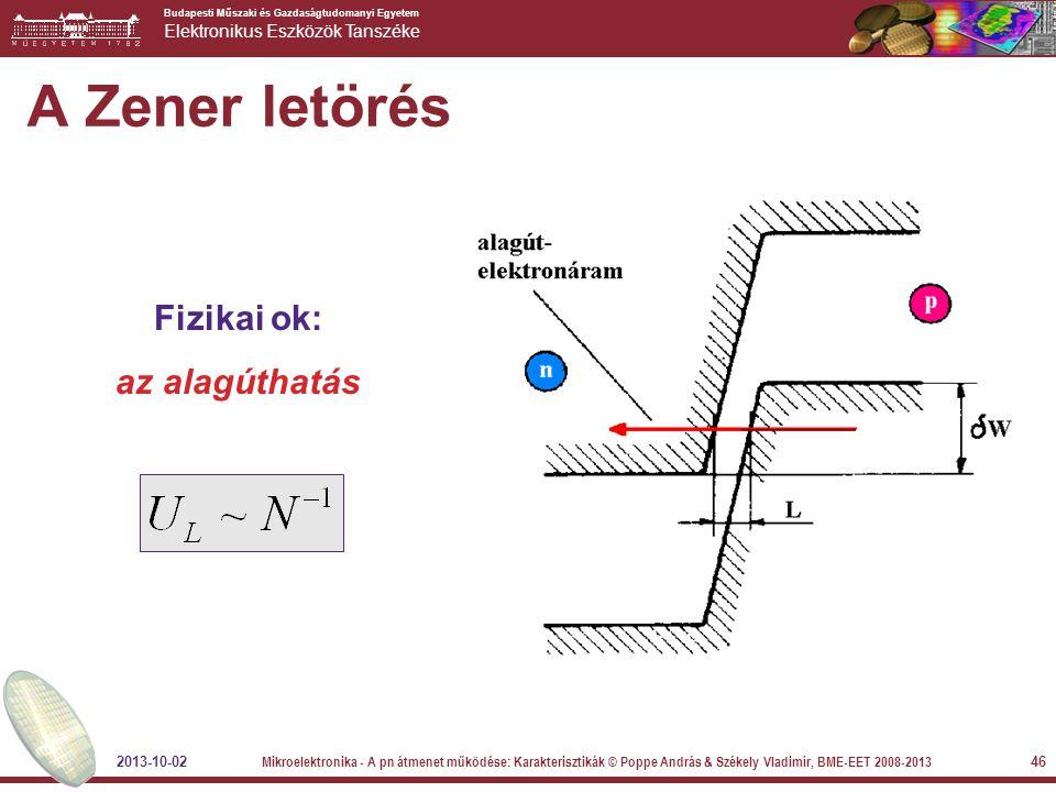 A Zener letörés Fizikai ok: az alagúthatás 2013-10-02