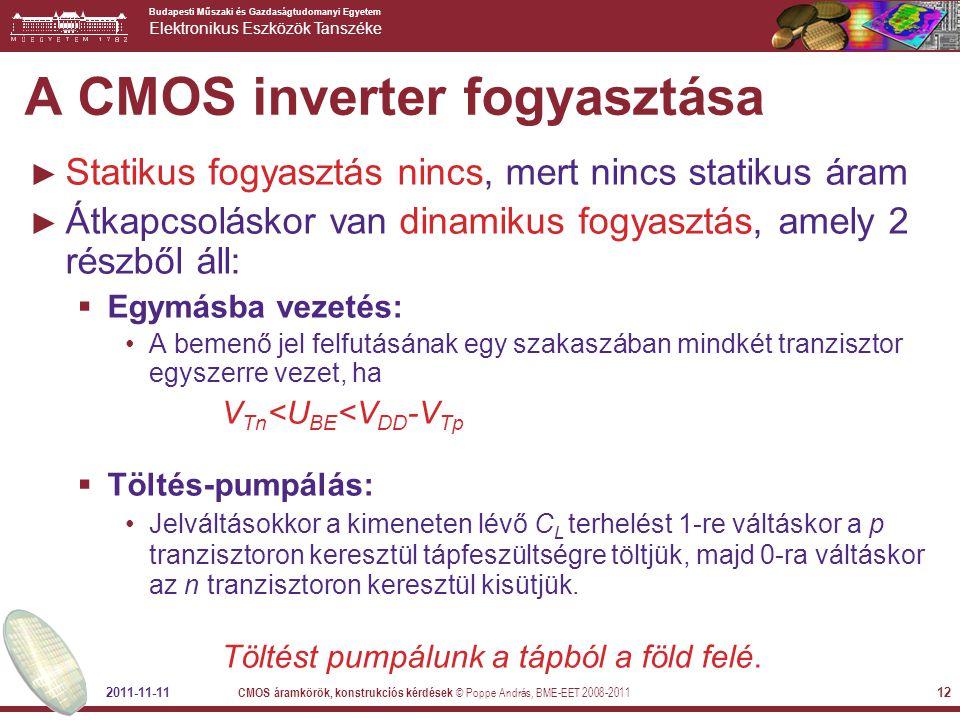 A CMOS inverter fogyasztása