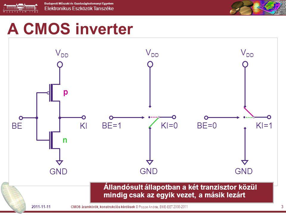 A CMOS inverter VDD GND KI BE n p KI=0 BE=1 KI=1 BE=0