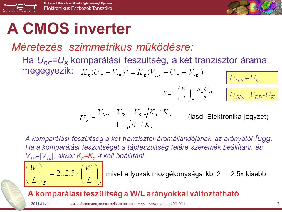 A CMOS inverter Méretezés szimmetrikus működésre:
