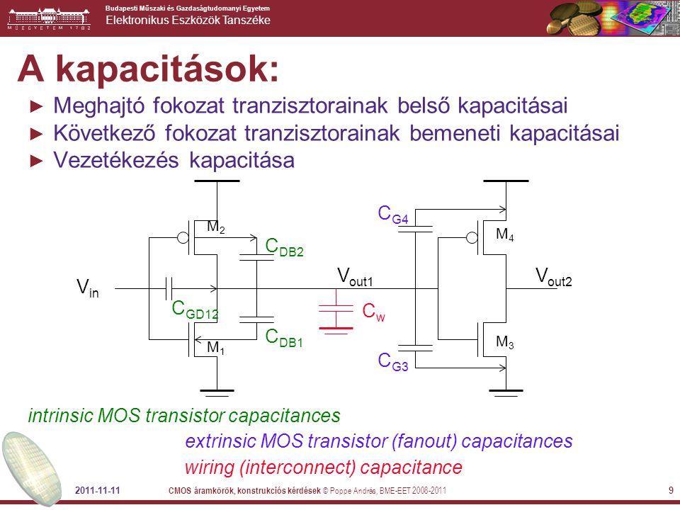 A kapacitások: Meghajtó fokozat tranzisztorainak belső kapacitásai
