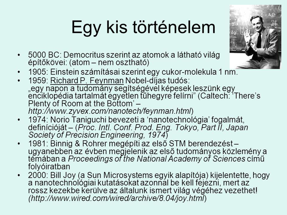 Egy kis történelem 5000 BC: Democritus szerint az atomok a látható világ építőkövei: (atom – nem osztható)