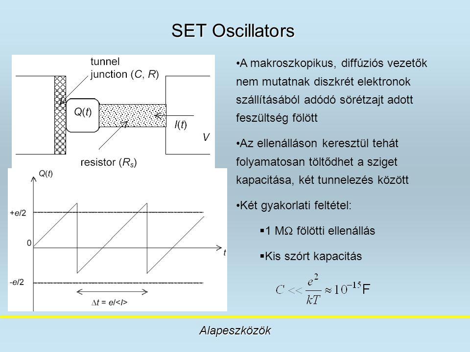SET Oscillators A makroszkopikus, diffúziós vezetők nem mutatnak diszkrét elektronok szállításából adódó sörétzajt adott feszültség fölött.