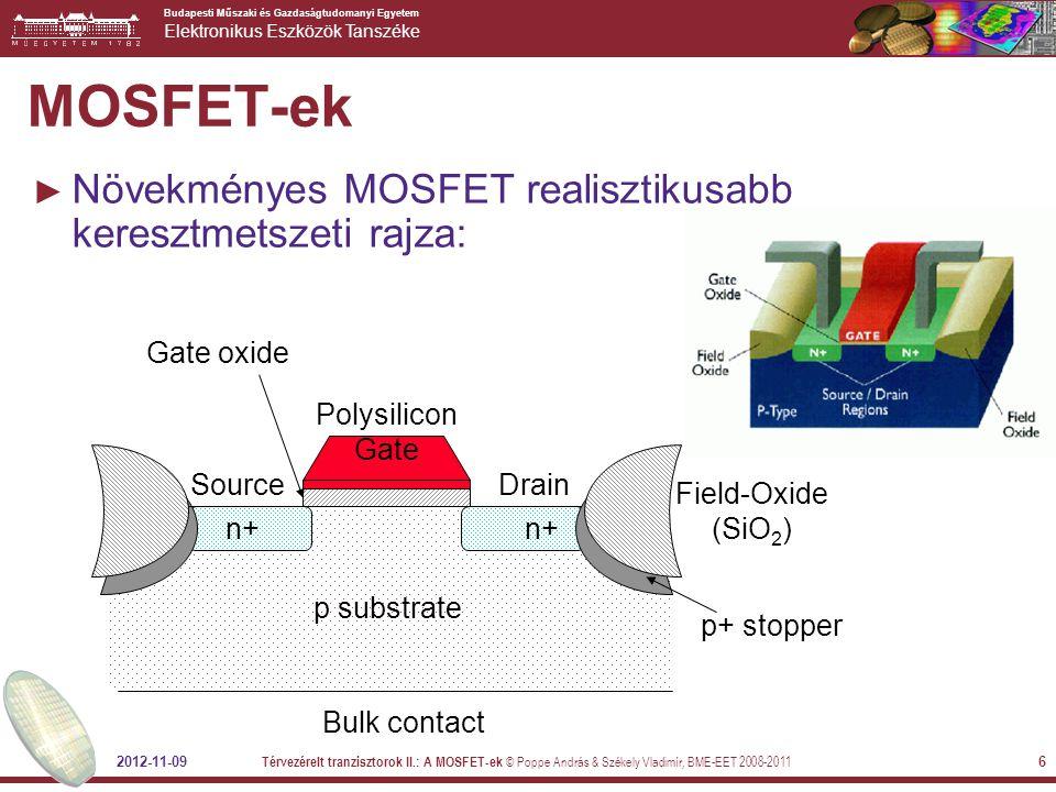 MOSFET-ek Növekményes MOSFET realisztikusabb keresztmetszeti rajza: