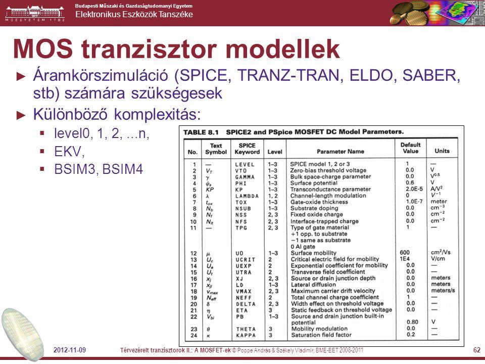 MOS tranzisztor modellek