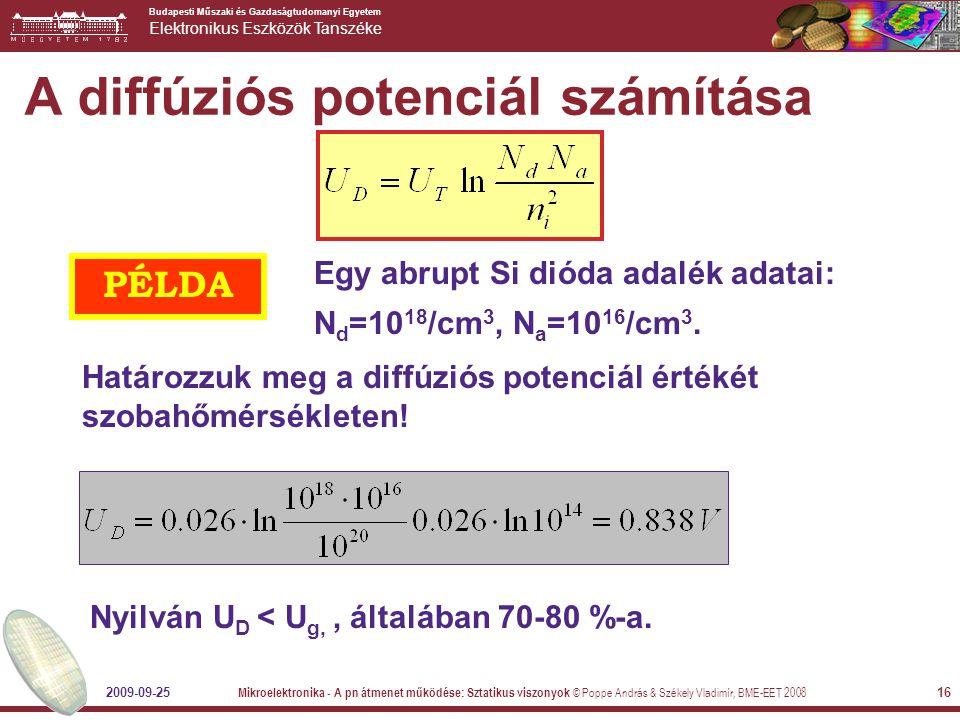 A diffúziós potenciál számítása