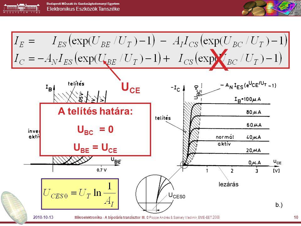 X UCE A telítés határa: UBC = 0 UBE = UCE 2010-10-13