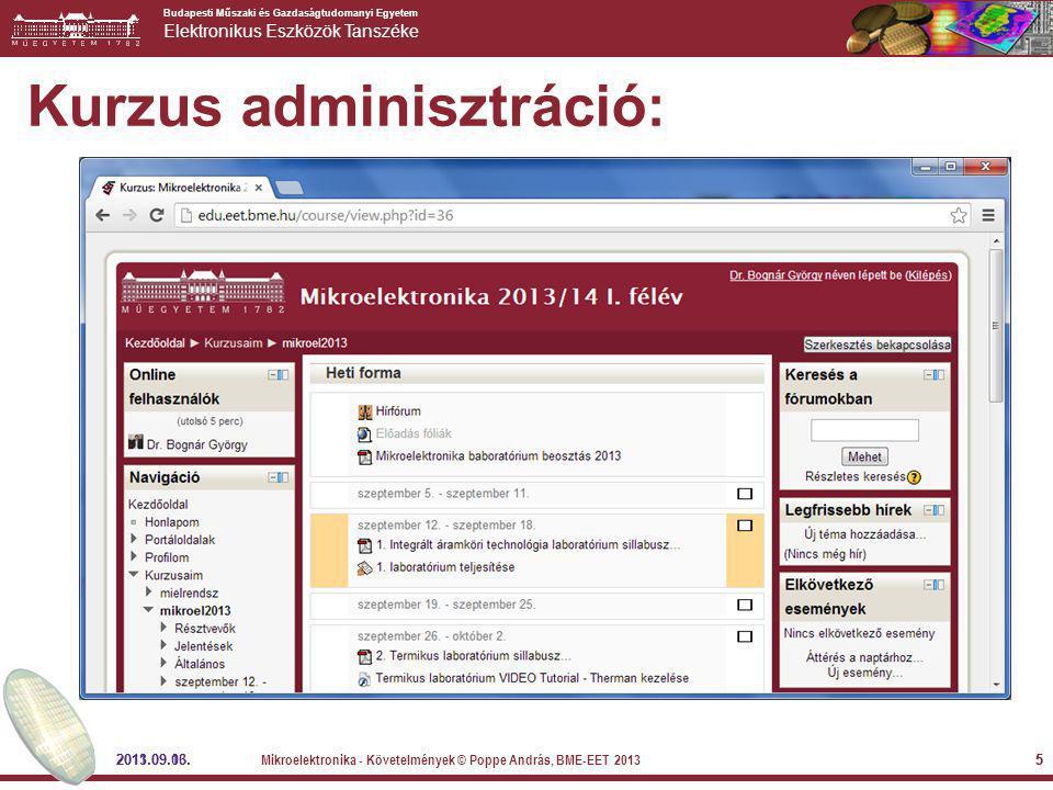 Kurzus adminisztráció: