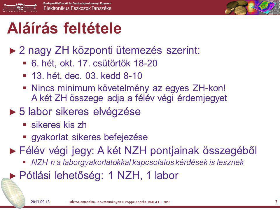 Aláírás feltétele 2 nagy ZH központi ütemezés szerint: