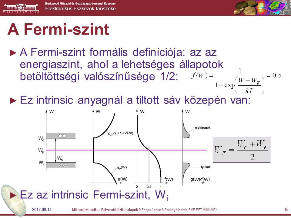 A Fermi-szint A Fermi-szint formális definíciója: az az energiaszint, ahol a lehetséges állapotok betöltöttségi valószínűsége 1/2: