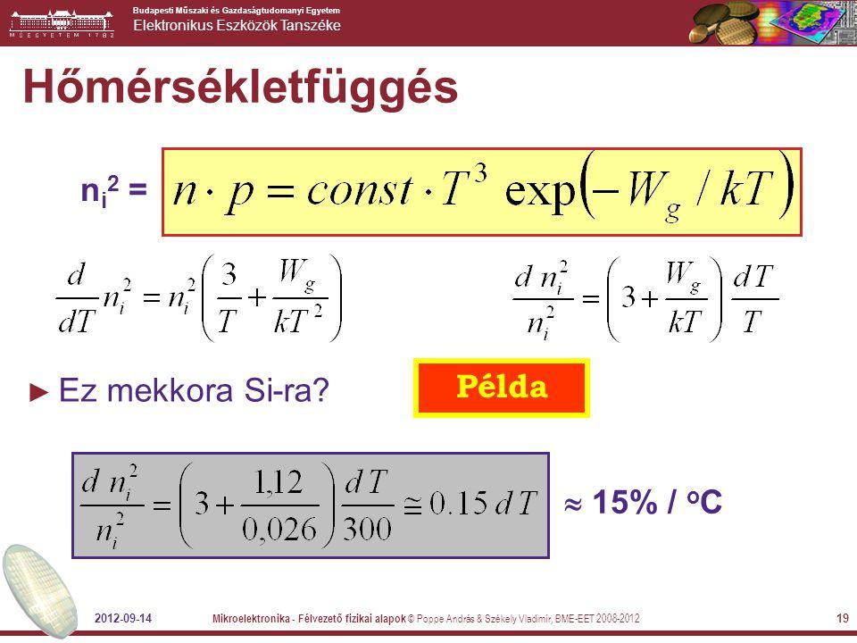 Hőmérsékletfüggés ni2 = Példa Ez mekkora Si-ra  15% / oC 2012-09-14