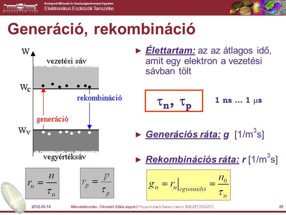 Generáció, rekombináció