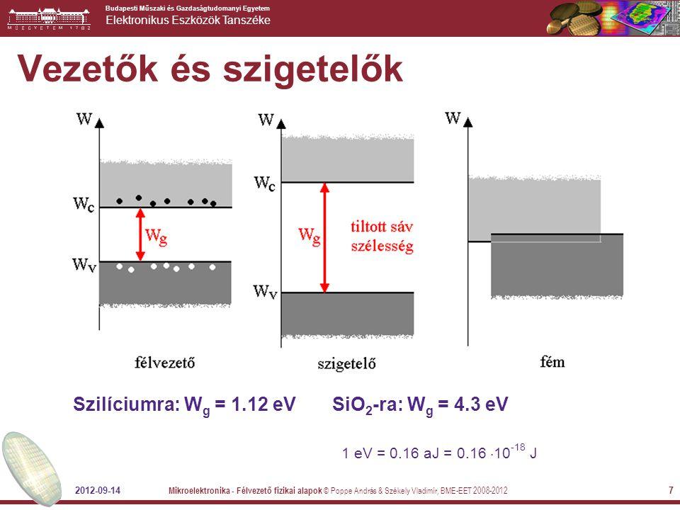 Vezetők és szigetelők Szilíciumra: Wg = 1.12 eV SiO2-ra: Wg = 4.3 eV
