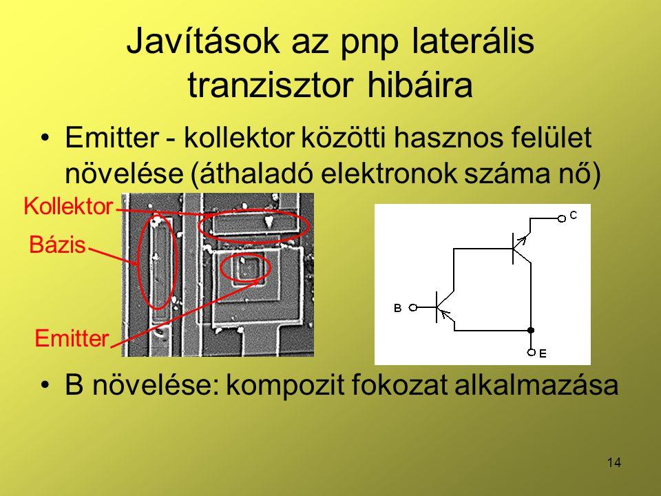 Javítások az pnp laterális tranzisztor hibáira