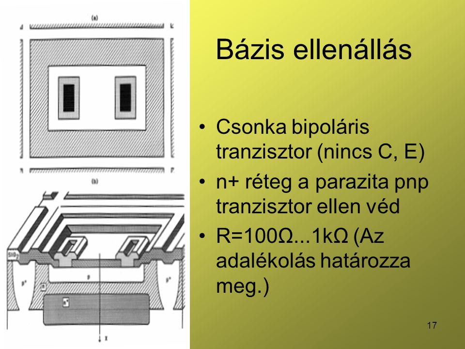 Bázis ellenállás Csonka bipoláris tranzisztor (nincs C, E)