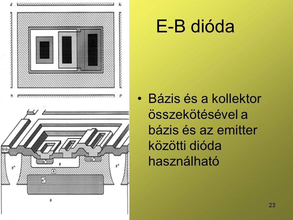 E-B dióda Bázis és a kollektor összekötésével a bázis és az emitter közötti dióda használható