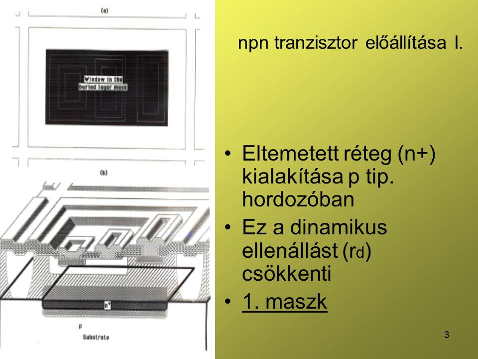 npn tranzisztor előállítása I.