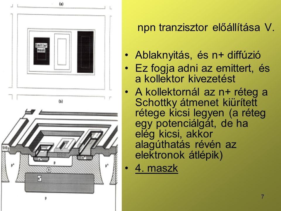 npn tranzisztor előállítása V.