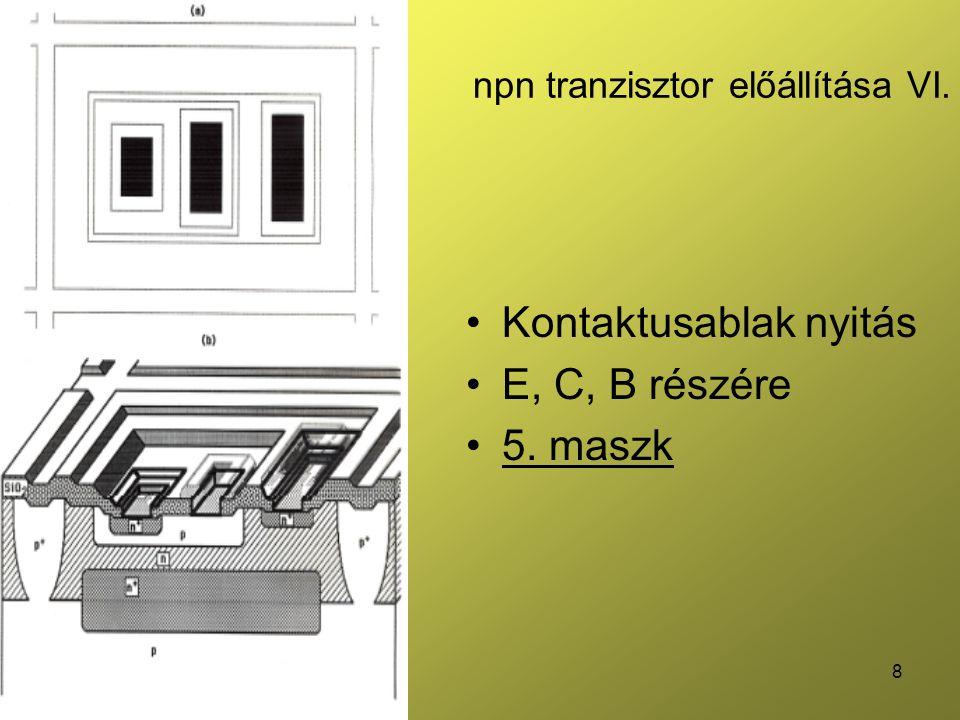 npn tranzisztor előállítása VI.