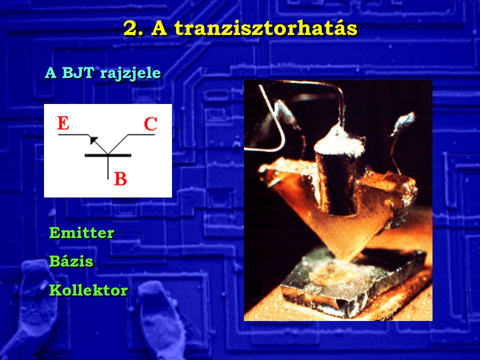 2. A tranzisztorhatás A BJT rajzjele Emitter Bázis Kollektor