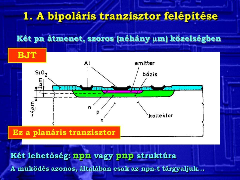 1. A bipoláris tranzisztor felépítése Ez a planáris tranzisztor