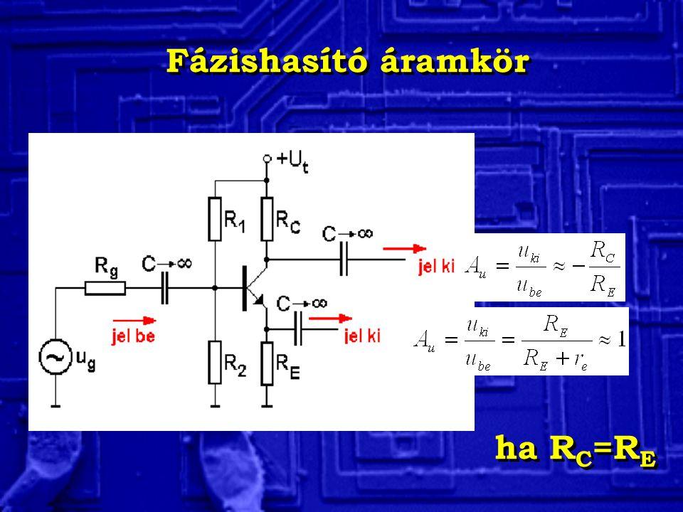 Fázishasító áramkör ha RC=RE