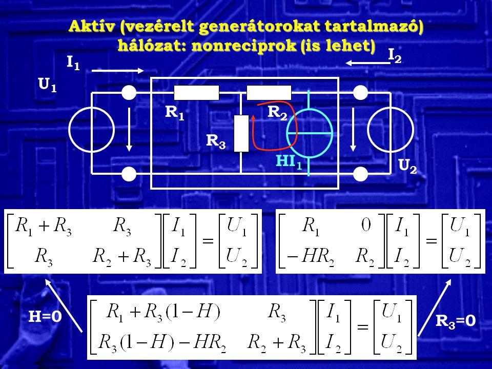 Aktív (vezérelt generátorokat tartalmazó) hálózat: nonreciprok (is lehet)