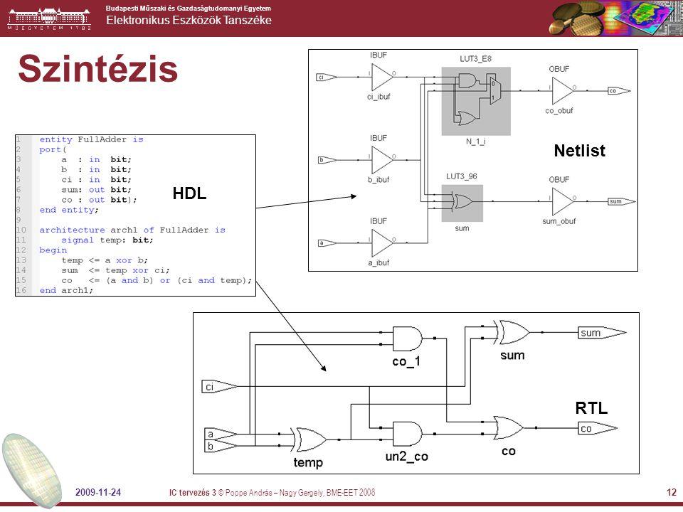Szintézis Netlist HDL RTL 2009-11-24