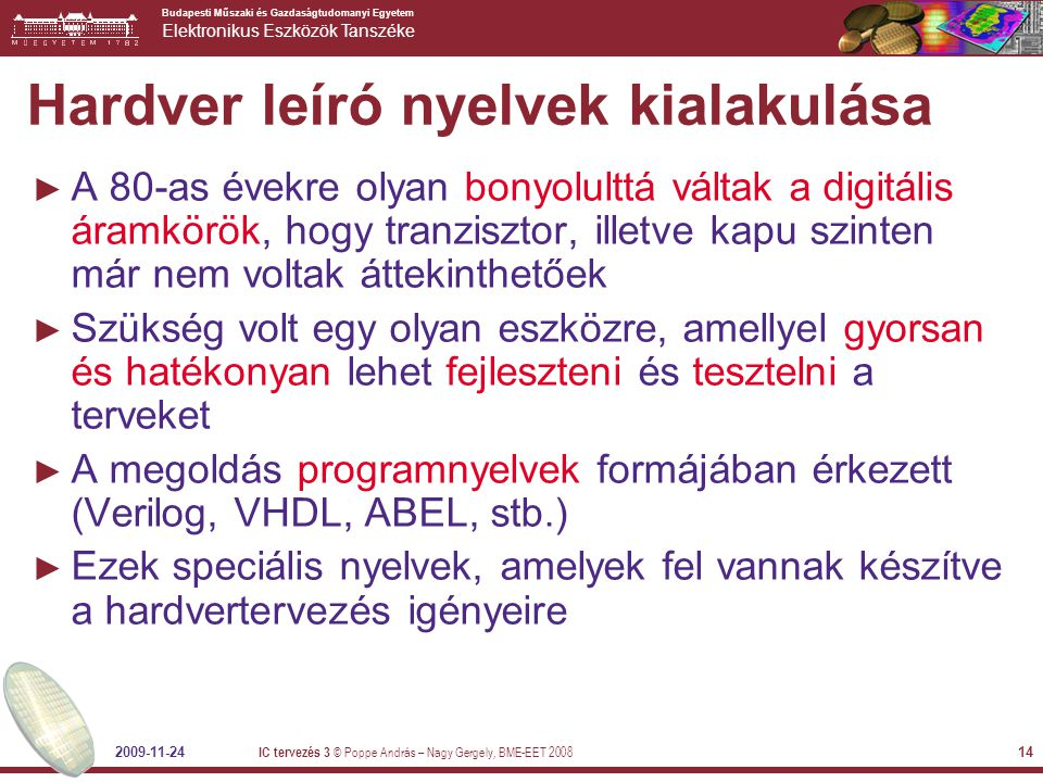 Hardver leíró nyelvek kialakulása