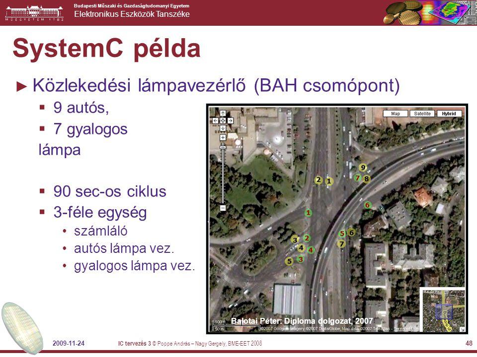 SystemC példa Közlekedési lámpavezérlő (BAH csomópont) 9 autós,